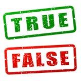 Diseño verdadero y falso del sello stock de ilustración