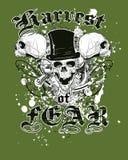 Diseño verde de la camiseta de los cráneos Fotografía de archivo libre de regalías