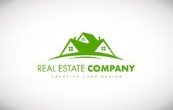 Diseño verde del icono del logotipo de la casa de las propiedades inmobiliarias ilustración del vector