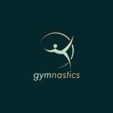 Diseño verde del logotipo del vector de la gimnasia con el fondo oscuro foto de archivo libre de regalías