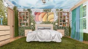 Diseño verde ecológico interior del dormitorio moderno libre illustration