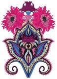 Diseño vibrante de Paisley del crisantemo Imagenes de archivo
