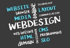 Diseño web en la pizarra fotos de archivo