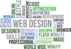 Diseño web - nube de la palabra Foto de archivo libre de regalías