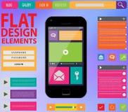 Diseño web plano, elementos, botones, iconos stock de ilustración