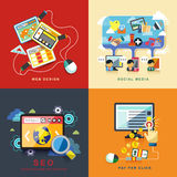Diseño web plano, seo, medio social, paga por tecleo libre illustration