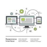 Diseño web responsivo de la interfaz de usuario stock de ilustración