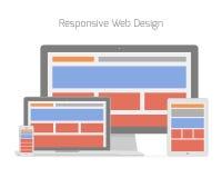 Diseño web responsivo en diverso electrónico Fotos de archivo