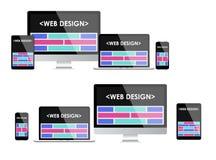 Diseño web responsivo Interfaz de usuario adaptante Fotos de archivo libres de regalías