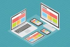Diseño web responsivo, material informático, 3d ilustración del vector