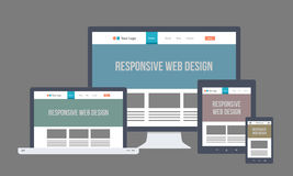 Diseño web responsivo plano ilustración del vector