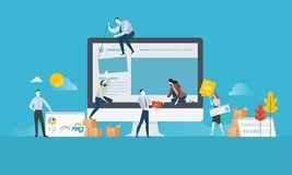 Diseño web y concepto del desarrollo ilustración del vector