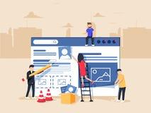 Diseño web y desarrollo Sitio bajo construcción Un equipo de profesionales jovenes que trabajan en una página del aterrizaje libre illustration