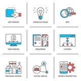 Diseño web y línea móvil iconos del márketing fijados stock de ilustración