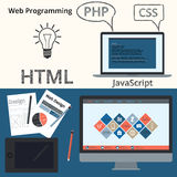Diseño web y programación de la bandera del ejemplo del vector Ilustración del Vector