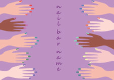Diseño y arte del clavo del color con el ejemplo de cinco manos de la manicura Imagen de archivo