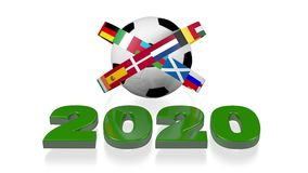 2020 diseño y banderas del europeo del fútbol stock de ilustración