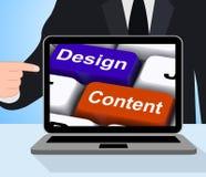 Diseño y Content Keys Displays Presentation Of Company Adverti Foto de archivo libre de regalías