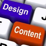 Diseño y publicidad de Content Keys Mean Presentation Of Company Foto de archivo libre de regalías