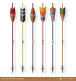Diseños contemporáneos de la flecha del tiro al arco Imagen de archivo
