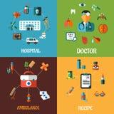 Diseños de concepto médicos planos Fotografía de archivo libre de regalías
