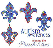 Diseños de Fleur del conocimiento del autismo Imagen de archivo libre de regalías