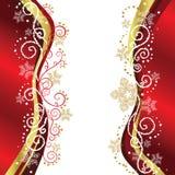 Diseños de la frontera de la Navidad del rojo y del oro Foto de archivo libre de regalías