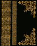 Diseños de la frontera del oro en negro Fotos de archivo