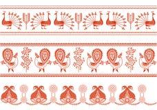 Diseños de la frontera. Ilustración roja y blanca del vector Imágenes de archivo libres de regalías