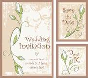 Diseños de la invitación de la boda fijados con los brotes de Rose Fotos de archivo libres de regalías