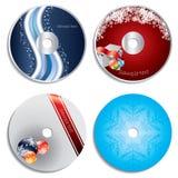 Diseños de la Navidad de la escritura de la etiqueta del CD y de DVD Foto de archivo libre de regalías