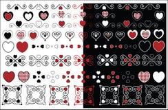 Diseños de la tarjeta del día de San Valentín con el ajuste de la guinga ilustración del vector