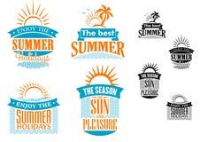 Diseños de las vacaciones y del viaje de verano Imágenes de archivo libres de regalías