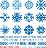 Diseños de los copos de nieve de la Navidad en estilo del pixel Foto de archivo libre de regalías