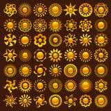 Diseños de Sun Imágenes de archivo libres de regalías