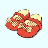 Diseños de zapatos de bebé con el arco para las muchachas foto de archivo libre de regalías