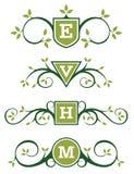 Diseños decorativos del emblema o del monograma Imagen de archivo libre de regalías