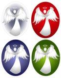 Diseños del óvalo del ángel de la nieve ilustración del vector