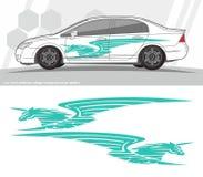 Diseños del equipo de los gráficos de la etiqueta del coche y de los vehículos aliste para imprimir y para cortar para las etique Foto de archivo libre de regalías