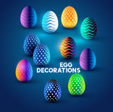 Diseños del huevo de Pascua Foto de archivo