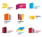 Diseños del icono y de la insignia del libro Imágenes de archivo libres de regalías