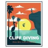 Dise?os del logotipo de la playa de California del acantilado que se zambullen stock de ilustración