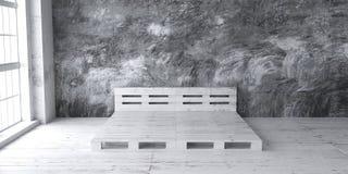 Diseños del marco de la cama de la plataforma para el interior del desván 3d rinden stock de ilustración