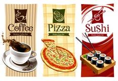 Diseños del modelo de banderas del alimento Foto de archivo