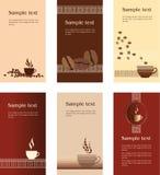 Diseños del modelo de tarjeta de visita para la cafetería Fotografía de archivo