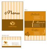 Diseños del modelo de tarjeta del menú y de visita para el cof Fotografía de archivo libre de regalías