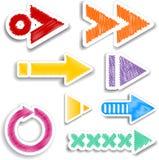 Diseños garabateados de la flecha stock de ilustración