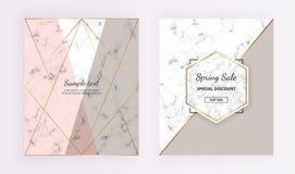 Diseños geométricos de mármol de la cubierta Rosado, gris, el oro alinea el fondo Plantilla de moda para la bandera de los diseño stock de ilustración