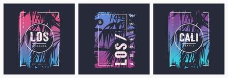 Diseños gráficos del vector de la camiseta de Los Angeles California con la palmera ilustración del vector