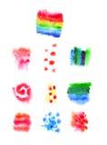 Diseños libres de la acuarela hermosa fijados Imagen de archivo libre de regalías